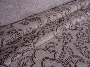 Полулен бельевой 150 см арт.22-14 рис.252/2 Узоры коричневые