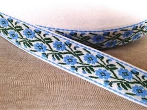 9963 ЛЕНТА ОТДЕЛОЧНАЯ ЖАККАРД бел,голуб,зелен 26мм (рул.50м)