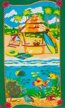 Полотно вафельное набивное 9С1-Ф1 ширина 150 (1130/2) Гавайи зелёный