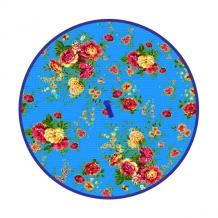 """Полотенце вафельное """"Цветы"""" голубой круглое"""