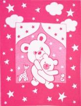 Одеяло хлопковое 100*140 жаккард 10/1 цвет ярко-розовый