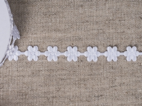 095030050 Лента декоративная шир.12мм, белые цветы (уп.25ярдов/22,86м)