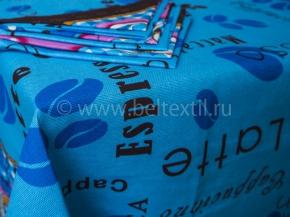 КСБ рогожка Скатерть 150*150 +6 салфеток Кофе голубой