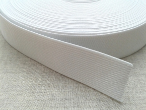 25мм. Резинка ткацкая 25мм, белая (рул.20м) арт.17с12