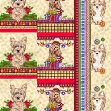 Вафельная -универсал В16 (0711/3) Новогодние собаки бежевый, ширина 150см
