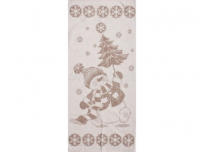 6с102.511ж2 Снеговик с елкой Полотенце махровое 67х150см Лен+х/б