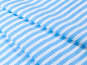 Бязь набивная плательная 1552-21А голубой/белый Полоса льняная ширина 150см