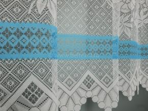 13с18-Г10 занавеска рис 2040 цв. белый с голубым бордюром 1.45*2.00 м