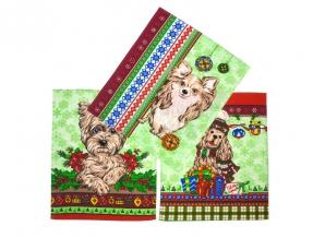 """Полотенце вафельное """"Новогодние собаки"""" купон зеленый 45*60"""