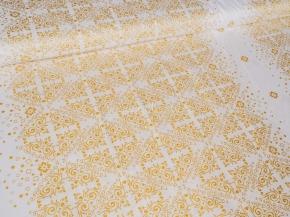 Ткань набивная Глосс-сатин рис.XG(2036) WHITE, золотое напыление, ширина 220см
