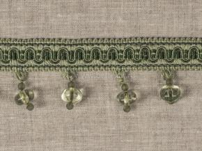 Бахрома Ajur HK AT984D-1843 (25m) св.зеленый с бусинами