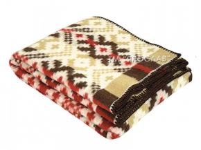 Одеяло п/шерсть 70% 140*205 жаккард бежево-бордовый