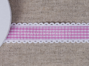 095000650 Лента декоративная шир.25мм, клетка розовый/белый (уп.25ярдов/22,86м)