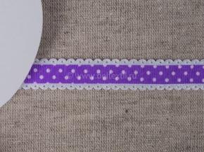 095000569 Лента декоративная шир.15мм, фиолет/бел.горошек (уп.25ярдов/22,86м)