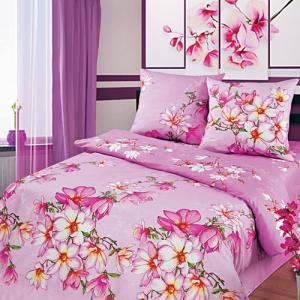 Магнолии розовый, рис. 3881-1. Бязь набивная ширина 220 см