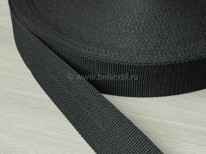 40мм. Стропа 40мм стандарт+ (пл.15,5гр/м) черный (рул.50м)