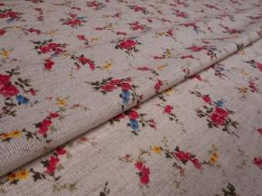 Полулен бельевой арт. 22-14 рис. 349/1 Букеты красные, ширина 150см
