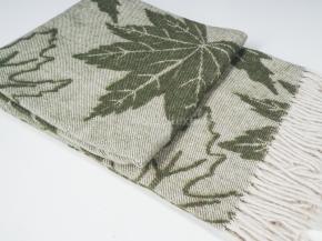 Плед п/шерсть 140*200 жаккард Листья цв. 1 зеленый