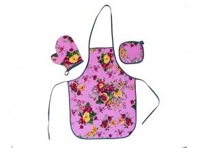 """Набор для кухни """"Цветы"""" розовый из 3-х предметов (фартук+рукавица+прихватка)"""