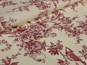 Ткань бельевая арт 7-17 п/лен грунт рис. Райский сад бежевый, 220см