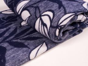 Одеяло п/шерсть 50% 140*205 жаккард Листья цв. темно-синий