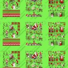 Вафельная -универсал В16 (0678/2) Новогодняя сказка зеленый, ширина 150см