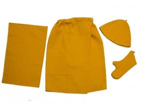 Набор для сауны женский из 4х предметов (юбка, шапка, рукавица, полотенце)