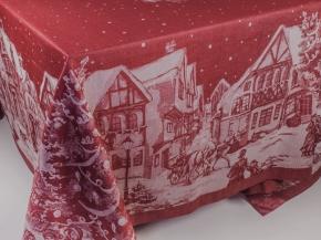 """03с34 ЯК Скатерть 178*229 """"Рождество в городе"""" цвет бордо"""