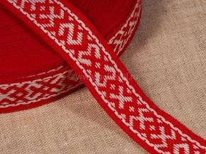 14С3843-Г50 ЛЕНТА ОТДЕЛОЧНАЯ ЖАККАРД красный с белым 20мм (рул.25м)