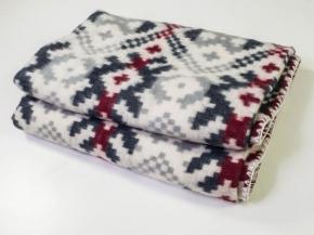 Одеяло п/шерсть 70% 140*205 жаккард цв. серый с бордо