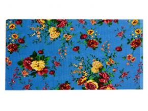 """Полотенце вафельное 40*75 """"Цветы"""" цвет голубой"""