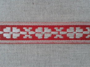 3876 ЛЕНТА ОТДЕЛОЧНАЯ лен с красным 20мм (рул.25м)
