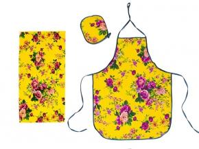 """Набор для кухни """"Цветы"""" желтый из 3-х предметов (фартук+полотенце+прихватка)"""