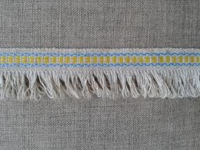 08С3524-Г50 ЛЕНТА ОТДЕЛОЧНАЯ, лён/жёлтый с голубым 20мм (рул.25м)