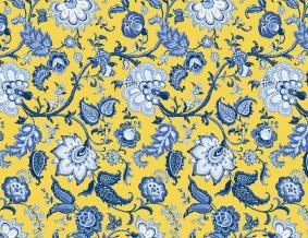 Ткань сувенирная рогожка набивная рис. Узор 561/3 желтый, ширина 150 см