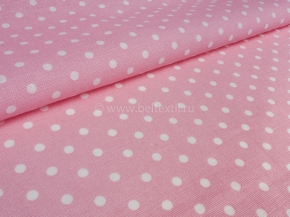 Ткань бельевая арт 175448 п/лен отбеленный набивной рис 62-17/1 Горошек розовый фон, ширина 150см