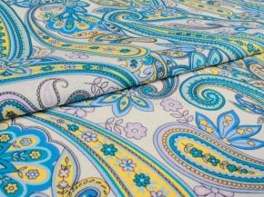 Ткань бельевая арт 175448 п/лен отб. набивной рис 4043/3 Огурцы голубой, ширина 150см