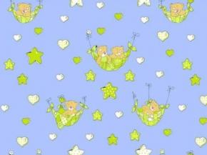 """Бязь набивная ГОСТ 1С8СВ-140 (1331/4) """"Мишутки в гамаке"""" голубой"""