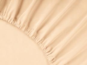 3963-БЧ простыня на резинке 200*160*25 гладкокрашеный сатин цв. кремовый