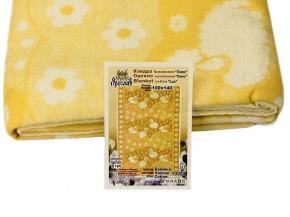 Одеяло хлопковое 100*140 ЛЮКС жаккард 18/6 цвет желтый