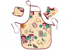 """Набор для кухни """"Париж"""" ваниль из 3-х предметов (фартук+рукавица+прихватка) рогожка"""