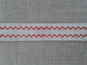 09С3558-Г50 ЛЕНТА ОТДЕЛОЧНАЯ лён с красным 16мм (рул.25м)