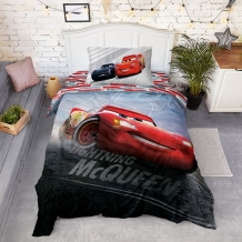 "КПБ 1.5 сп поплин 70*70 ""Тачки"" панно Lighting McQueen"