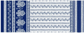 Саржа набивная рис. 595/1 Ручная набойка синий 180г/м2, ширина 150см