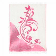 Плед хлопковый 140*200 жаккард 6.1 цвет розовый