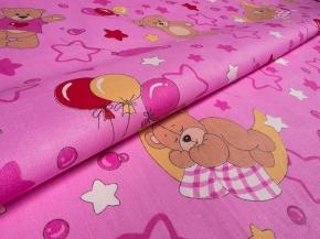 Бязь набивная ГОСТ рисунок 350/3 Медвежата -друзья 2 розовые, ширина 150 см