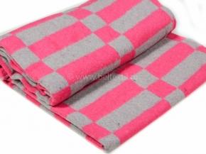 Одеяло байковое 175*210 клетка цв. розовый с серым