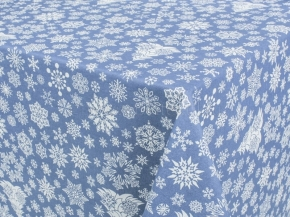 888-БЧ (802) Ткань х/б для столового белья набивная рис. 5190-01 Снежинки на серо-голубом, 145см