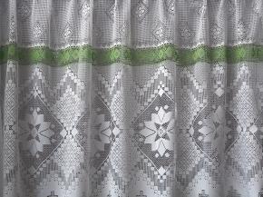 19с12-Г10 рис 18058 занавеска 160*250 цв. белый с зеленым бордюром