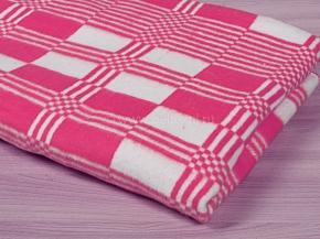Одеяло байковое 140*205  клетка цв. розовый